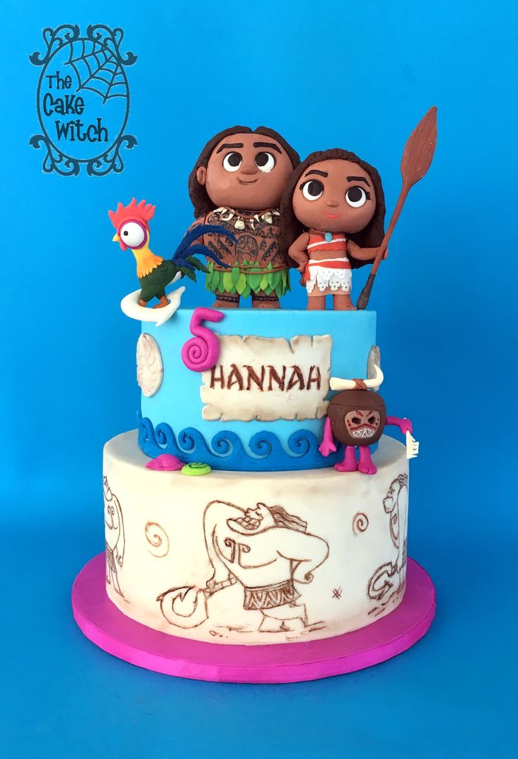 Moana Birthday Cake with HeyHey, Maui and kakamora figurines
