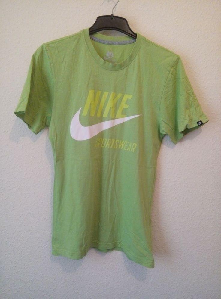 Nike Tee T Shirt Nike Sportswear Print Bright Green Size Small 100% Cotton VGC