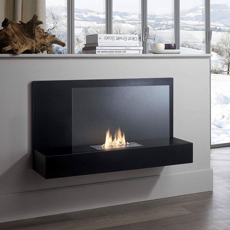 Modern Black Portable Bioethanol Fireplace, Italian Contemporary Design  Accessories For Living Room Interior.