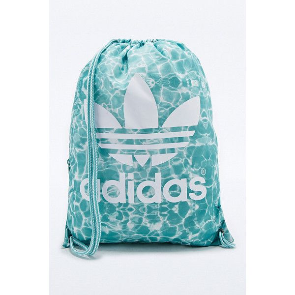 Adidas Pool Print Gym Bag in Turquoise ($16) ❤ liked on Polyvore featuring bags, backpack, bolsos, sacs, taschen, blue, gym bag, drawstring backpack, adidas and blue bag