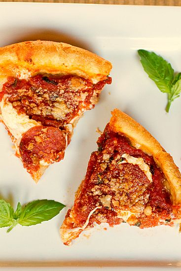 Chicago-Style Deep-Dish Pizza via Michelle of Brown Eyed Baker