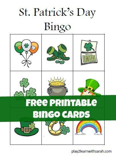 St. Patrick's Day Preschool Free Printable Bingo Cards | Play 2 Learn with Sarah