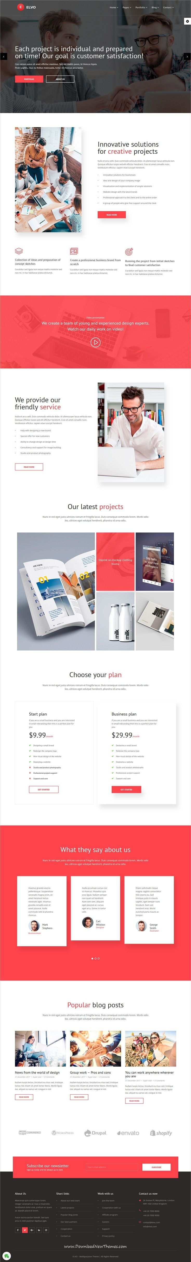 Elvo is clean and modern design responsive multipurpose #Joomla template for #creative #agency website with 18+ niche homepage layouts to live preview & download click on Visit