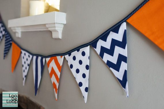 Fabric Party Bunting Banner in orange and navy blue with chevron, stipes and polka dots
