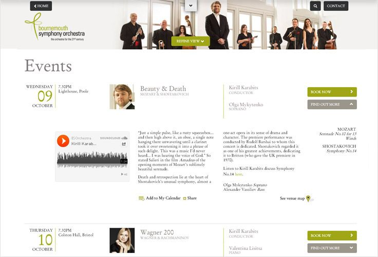 The new site ensures the depth and the breadth of performances are easily searchable and accessible. To meet user preferences concerts can also be easily searched and filtered by location, conductor, soloist, ensemble, composer or event series. Further functionality is available to allow the BSO to market and prompt similar events in the form of 'other concerts like this one you may enjoy'. Additional rich media video and assets can also be added to support each event and help conversion.