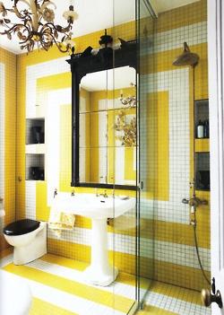 Yellow + white tiled bath from World of Interiors August 2011: Interior Design, Ideas, White Tile, Black Bathroom, Color, Yellow Bathrooms, World Of Interiors, Tile Pattern