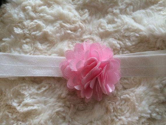 Light Pink Satin and lace puff flower headband by LittleShneebs, $5.00 #littleshneebs #babygirl #gift #babyheadband #velcroheadband #brilliant https://www.facebook.com/littleshneebs https://www.etsy.com/ca/shop/LittleShneebs
