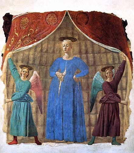 Piero della Francesca - Monterchi (near Sansepolcro):  Pregnant Madonna (Madonna del Parto) A large fresco removed from the Monterchi church turned truncated cemetery chapel where it was painted, and until a few years ago could be seen.