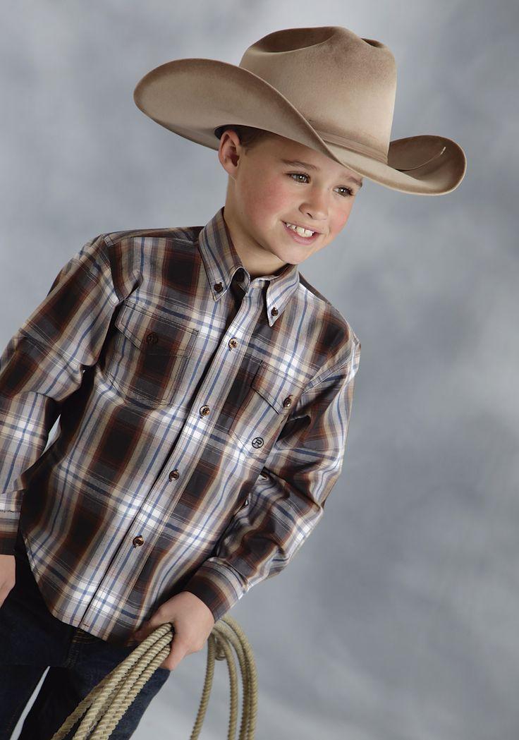 Roper Boys 9353 Hawthorne Plaid - Flat Weave Amarillo Chocolate Diamonds Group Long Sleeve Shirt Button Closure - 2 Pocket