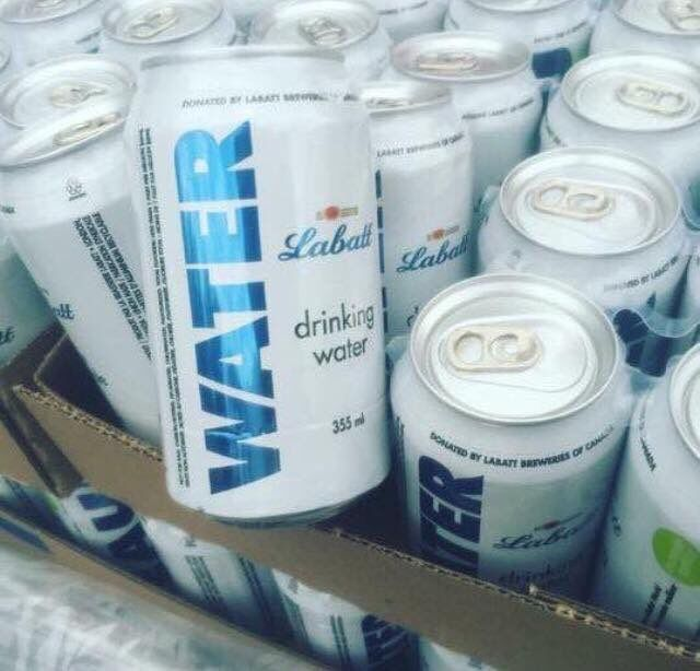"""Frank on Twitter: """"So much respect for Labatts! They shut down their beer production to create 200,000 cans of water for #yym #yymfire https://t.co/M97PrTSg7g"""""""