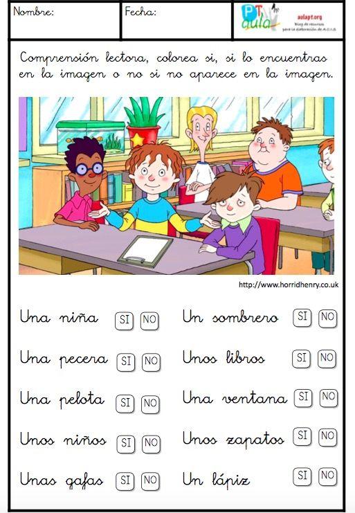 Nueva serie de 4 fichas para trabajar la comprensión lectora de palabras, ideal para iniciación a la lectura. El alumno tendrá que colorear el recuadro donde pone si, si encuentra el objeto en la imagen o no si no lo encuentra. Para elaborar estas fichas he utilizado imágenes de los