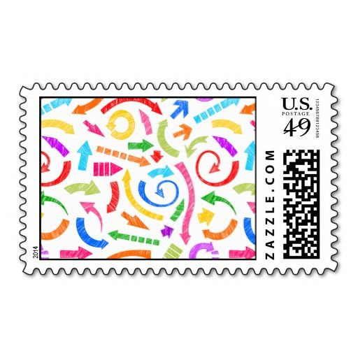 Colorful scribbled arrows postage stamps #postage #stamp #stamps #zazzle #geometric #abstract #arrows #color