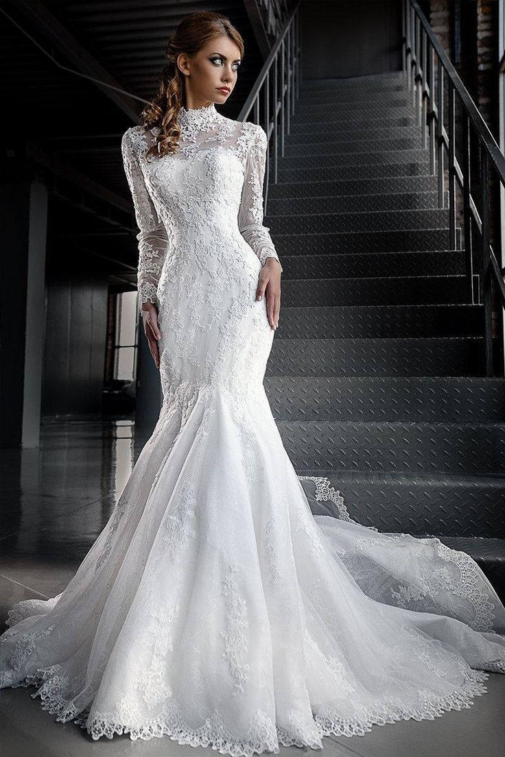Mermaid Lace Wedding Dresses with High Neck Long Sleeves. Jacket