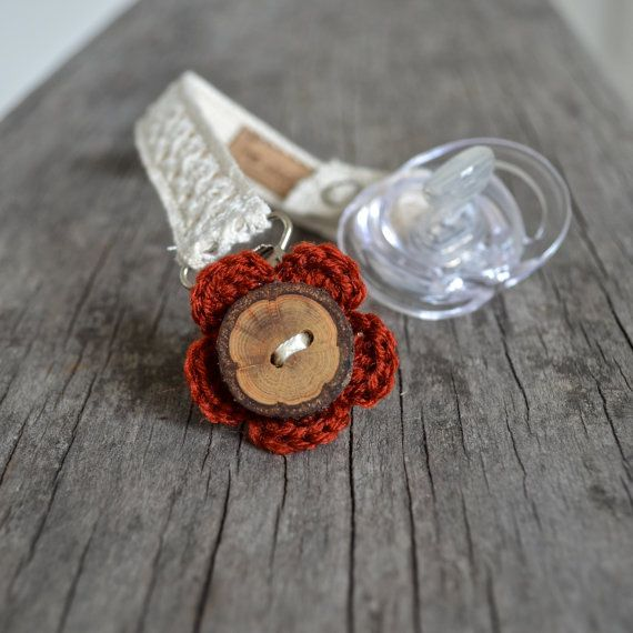 Wooden Button Flower Pacifier Clip in Deep Red. by TheWiggleTree, $17.00