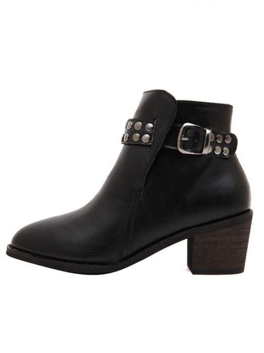 Punk Rivet Buckle Thick Heel Short Boots