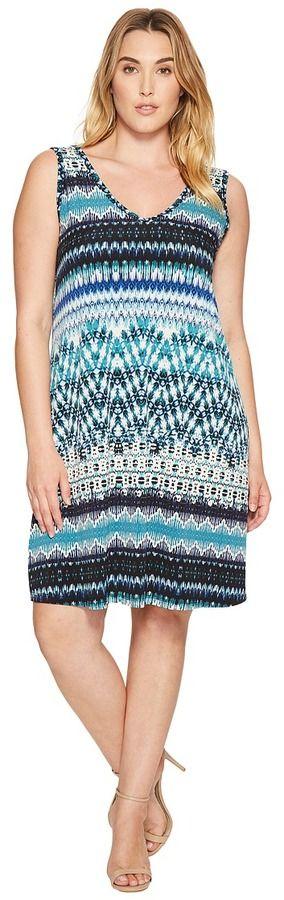 Karen Kane Plus Plus Size Batik Stripe Bridgitte Dress