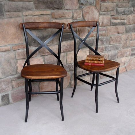 wood go industrial with this vintage style wood and metal chair
