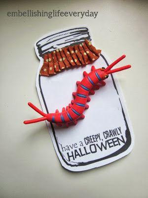 Embellishing Life: Halloween Jar printable. Make This Creepy Bug Jars for #allergyfree and #candyfree treats! #tealpumpkin