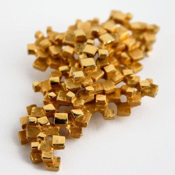 Vintage Boucher Gold Nugget Modern Cubist Brooch  by PinkAstilbe, $60.00
