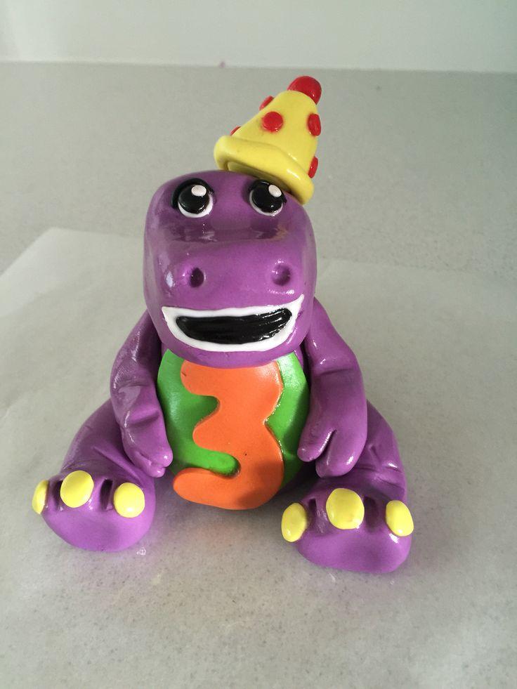 Barney the dinosaur inspired cake topper