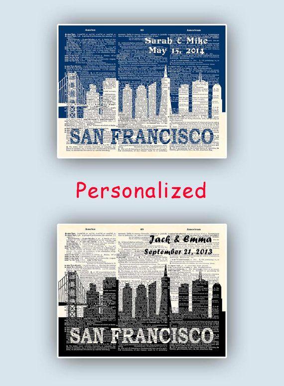 Personalized San Francisco skyline San Francisco CA by DigiMarthe, $25.00