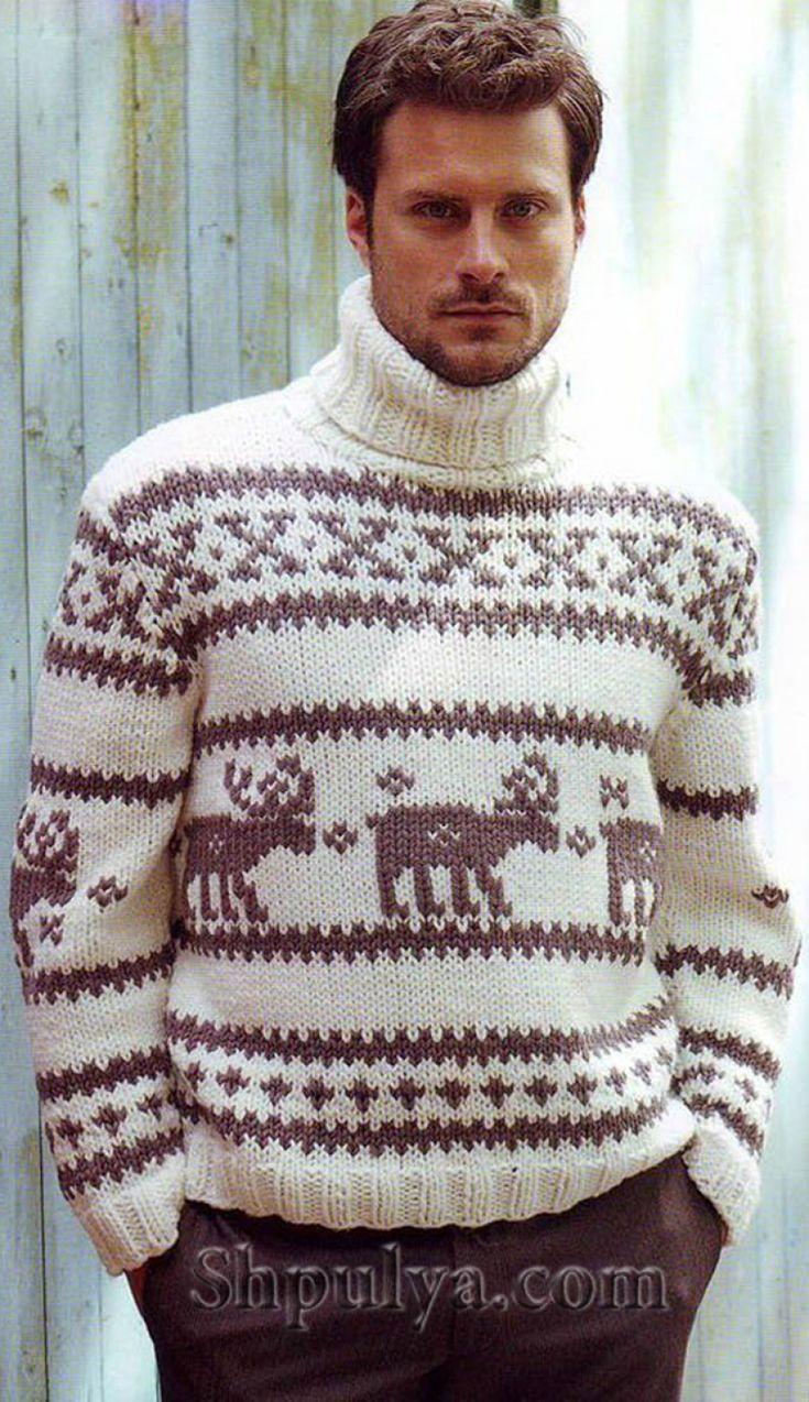 Мужской пуловер норвежским узором