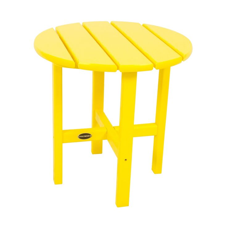 Polywood Round Patio Side Table   Yellow