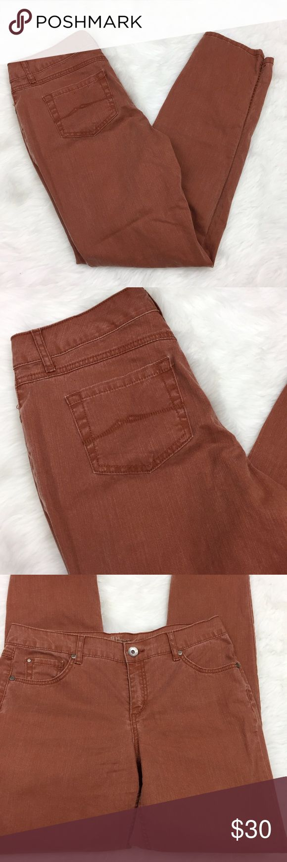 🌺Ruff Hewn Burnt Sienna Skinny Leg Denim Jeans Ruff Hewn Women's Burnt Sienna Skinny Leg Denim Jeans Size 8  Waist measurement across: 17 inches  Length: 41 inches  Inseam: 32 inches  This has been gently worn with no major flaws.  Please refer to photos for more details. Ruff Hewn Jeans Skinny