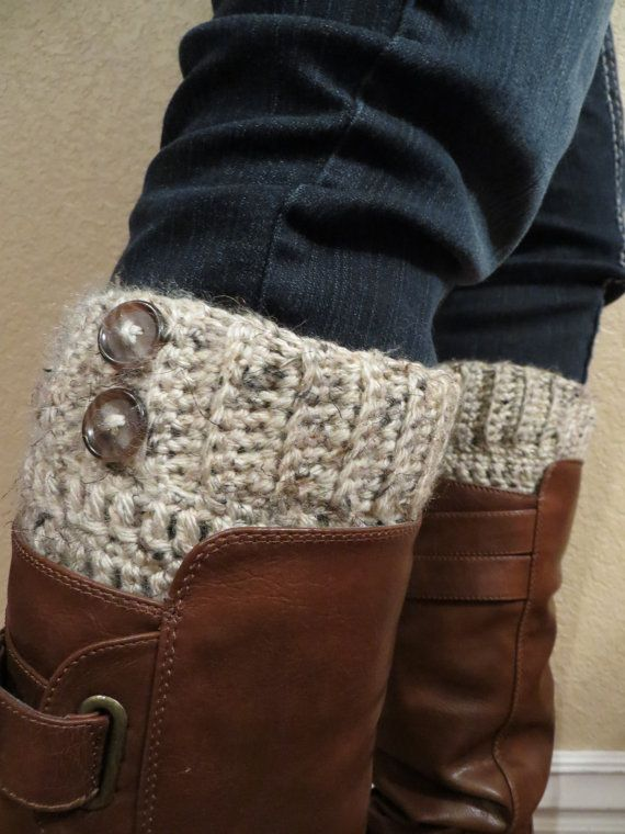 Pair of netural crocheted boot cuffs boot socks by SpiderCrochet, $17.00