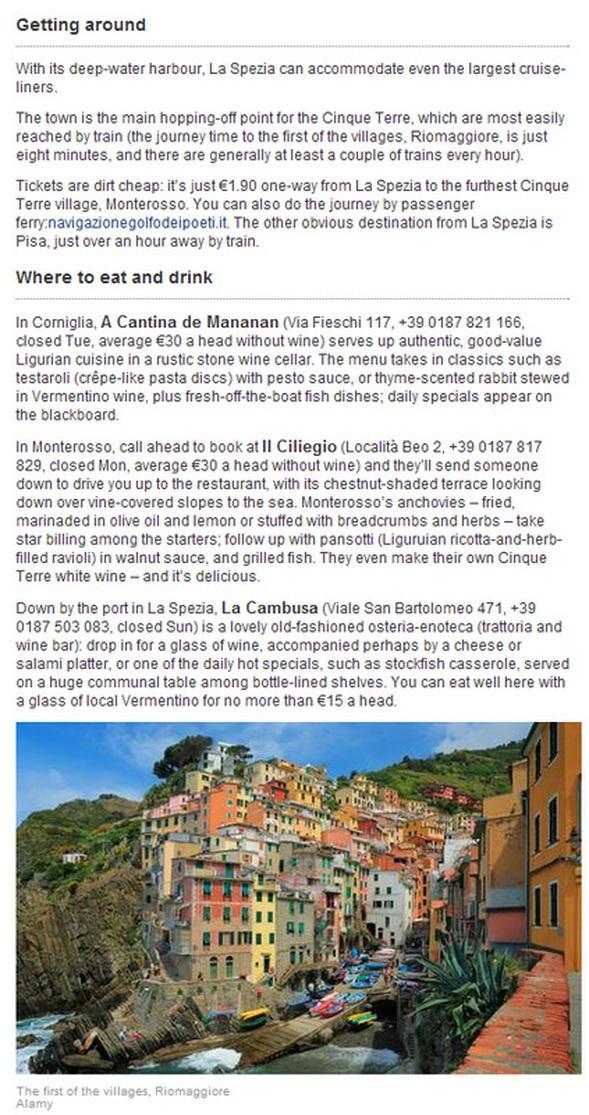 Where to eat & drink La Spezia Informational Site