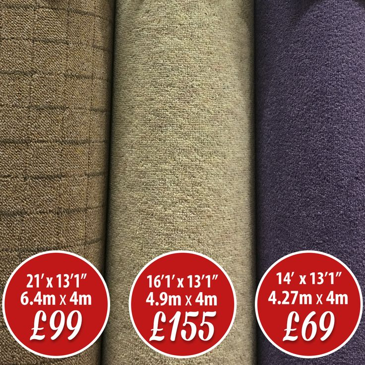 🌟 Carpet ROLL END SALE 🌟 Brown Carpet (left): 6.4m x 4m (21' x 13'1'') £99 Beige Carpet (middle): 4.9m x 4m (16'1'' x 13'1'') 80/20 wool £155 Purple Carpet (right): 4.27m x 4m (14' x 13'1'') £69 We always have massive stocks of carpet bargains that can be taken away today AND we have a local delivery service. Quality carpets and vinyl at their lowest prices!