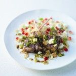 Maple and balsamic glazed lamb chops with mint, toasted almonds and feta cous cous