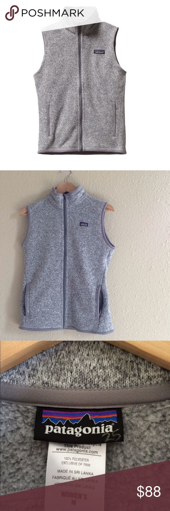 Patagonia better sweater vest birch white medium Patagonia better sweater vest in popular birch white (gray) size medium. Polyester fleece. Fair trade. This vest is in excellent, like new condition. This color never goes on sale. No piling, stain, or holes. Slim fit. Falls at waist. Price is flexible - but please be reasonable with your offer. Patagonia Jackets & Coats Vests