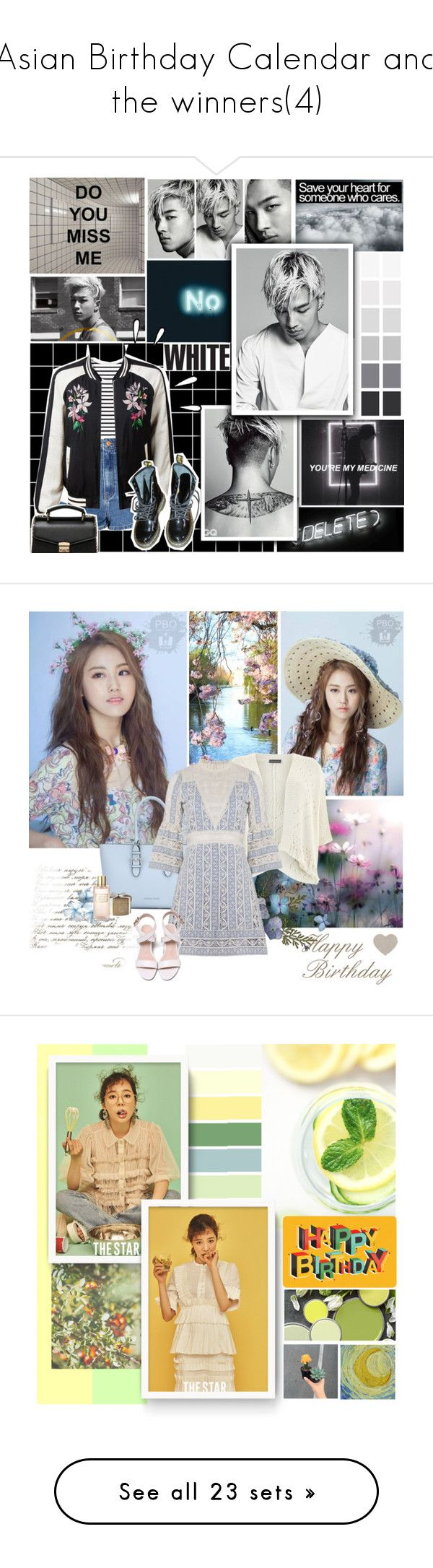 """""""Asian Birthday Calendar and the winners(4)"""" by rainie-minnie ❤ liked on Polyvore featuring art, Armani Jeans, Mint Velvet, Estée Lauder, Sea, New York, kpop, contestentry, 4minute, girlsgroup and MICHAEL Michael Kors"""
