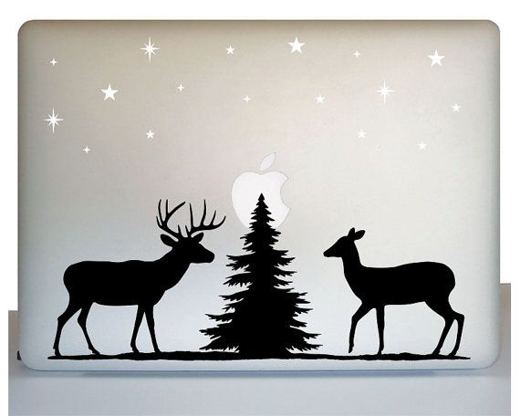 Laptop wildlife decal deer decal forest scene decal wilderness decal nature decal