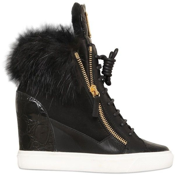 GIUSEPPE ZANOTTI 90mm Beaver & Shearling Wedge Sneakers ($1,195) ❤ liked on  Polyvore featuring