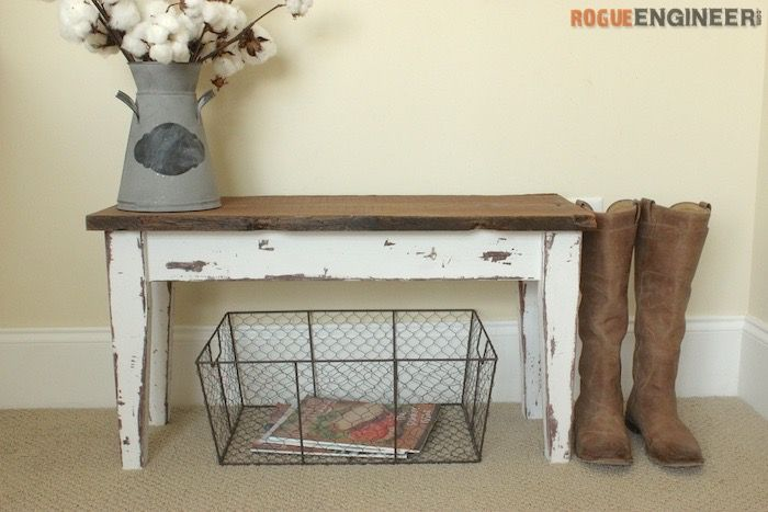 Small Entry Bench  - Free DIY Plans | http://rogueengineer.com/ #DIYFurniturePlan #EntryBench