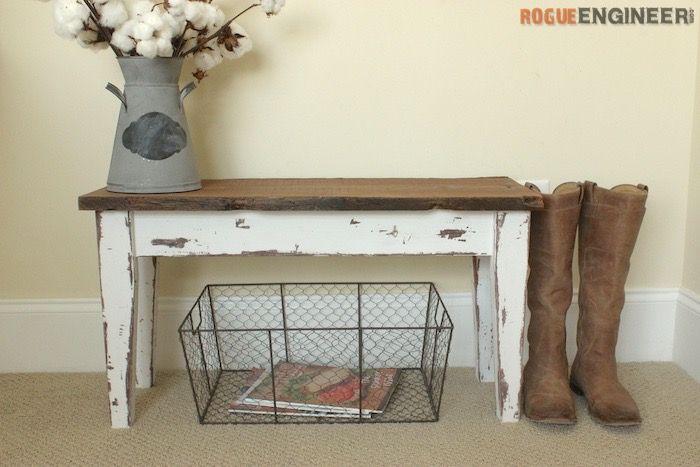 Small Entry Bench  - Free DIY Plans   http://rogueengineer.com/ #DIYFurniturePlan #EntryBench