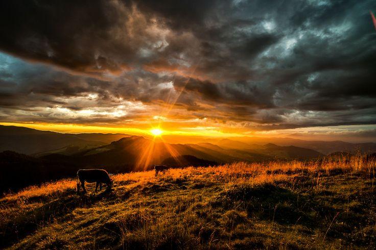 Sunset over Rarau Mountains,Bucovina,Romania by Dumitrescu Catalin  www.romaniasfriends.com