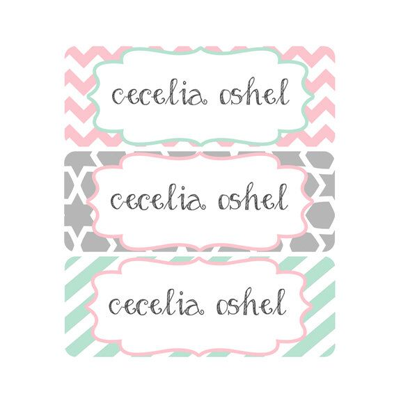 Name Labels, School Labels, Daycare Labels, Bottle Labels, Waterproof Name Labels, Waterproof, Pink, Gray, Mint, Chevron, Stripes by ModishCC on Etsy https://www.etsy.com/listing/240918497/name-labels-school-labels-daycare-labels