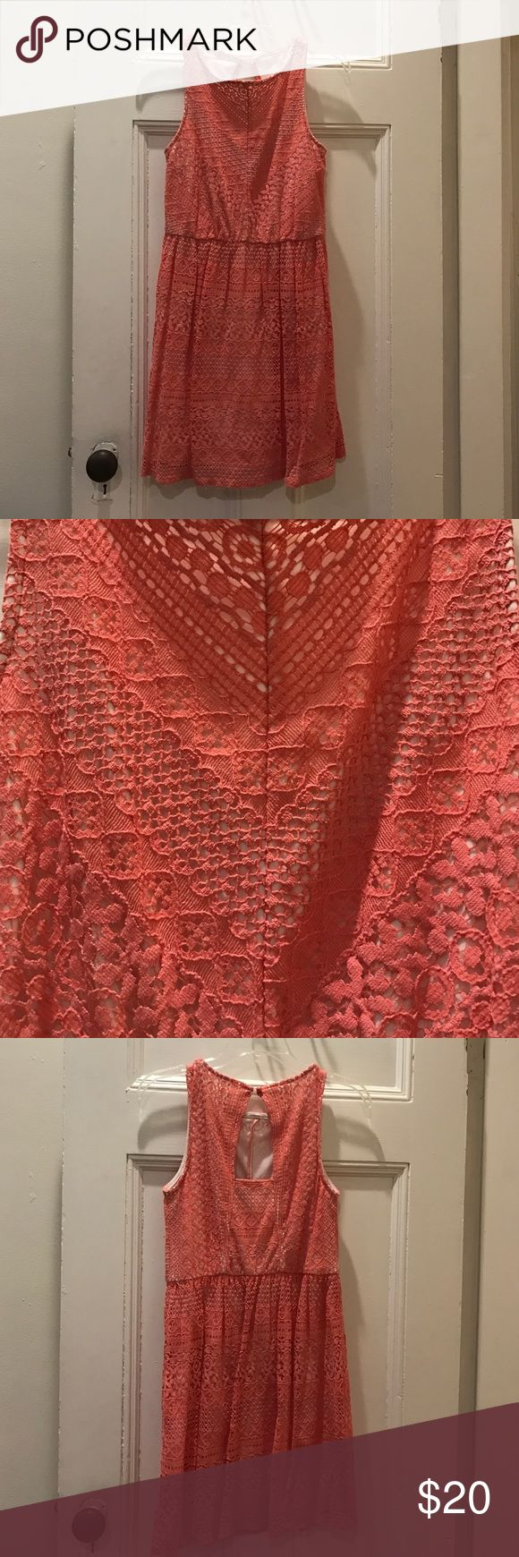 Cute Coral Lace Summer Dress Cute Coral Lace Summer Dress. Worn once! Ruby Rox Dresses