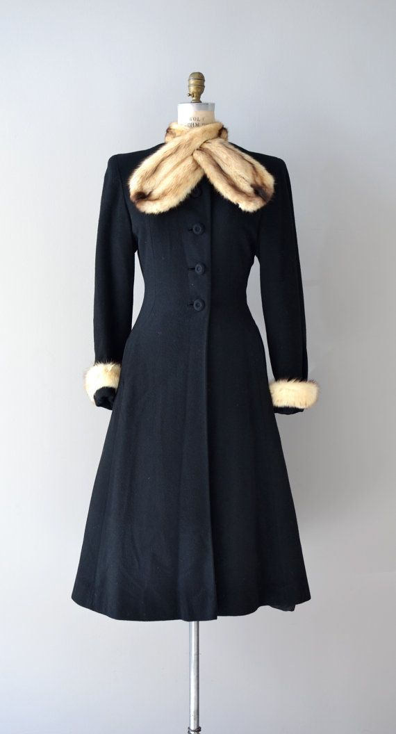 1930s black wool princess coat with large fur scarf collar, fur trimmed sleeves, black wool covered buttons