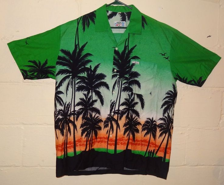 Vintage American Paradise Hawaiian Resort Size XXL Palm Trees Surfing Green  #AmericanParadise #Hawaiian