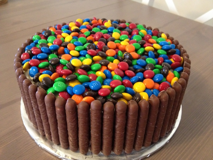 Chocolate layer cake with m's galore