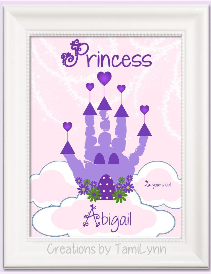 Princess Castle Handprint Art - Personalized Baby Nursery, Child's Room, Girls' Room by CreationsbyTamiLynn on Etsy https://www.etsy.com/listing/185278137/princess-castle-handprint-art