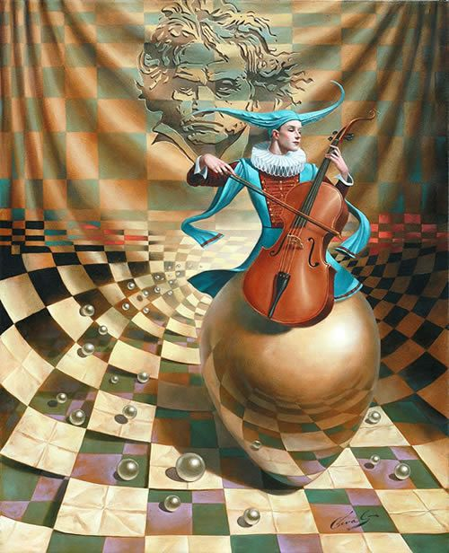 Roll Over Beethoven by Michael Cheval, original Oil on Canvas 30x24