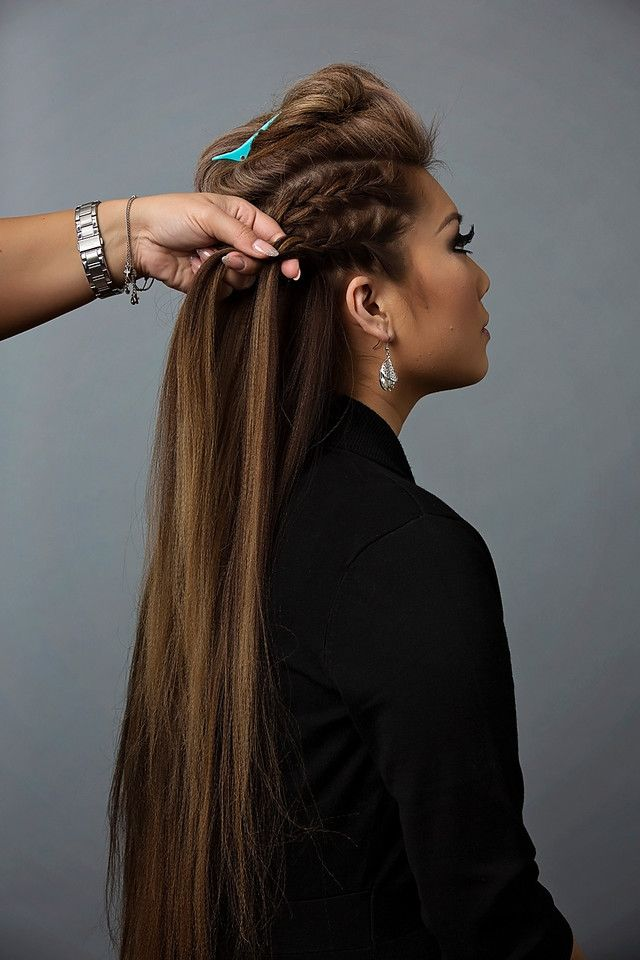 French braid the sides of the head