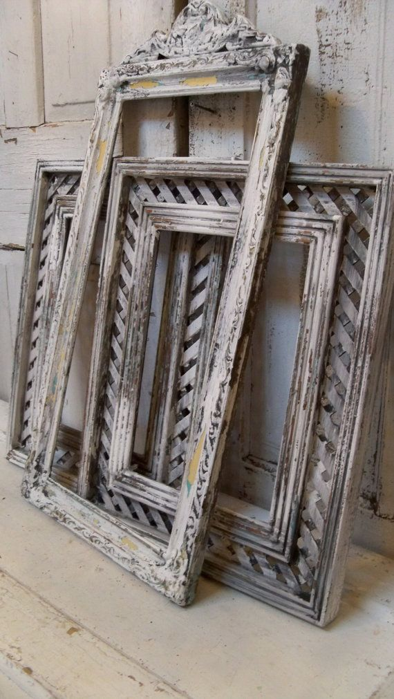 Wooden Lattice Wall Decor : White gray wood frame grouping chippy painted farmhouse