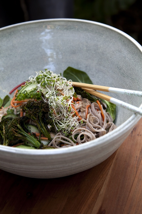 Soba Noodle Salad – Roasted Broccolini, Baby Winter Greens, Raw Almond  Miso Dressing