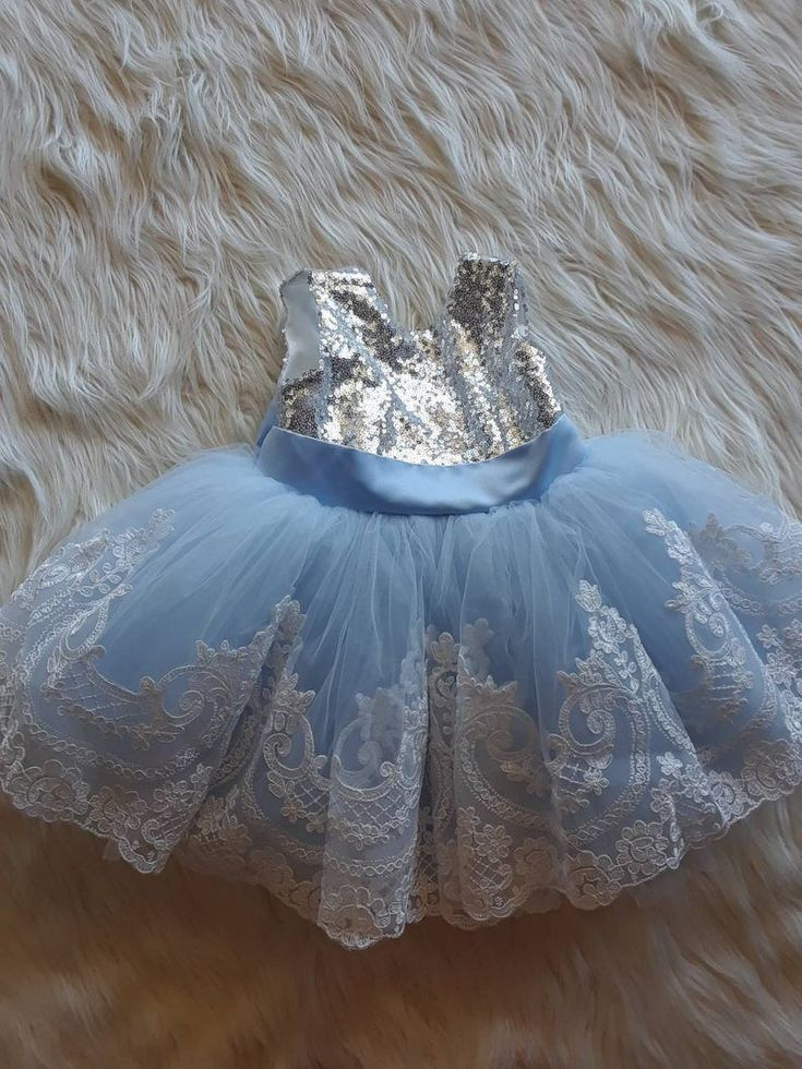 Light blue dress for baby girls with white lace etsy in